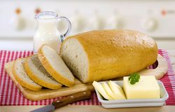 Bread, butter and milk Stock Image