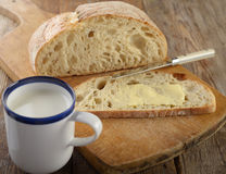 Bread with butter and milk Stock Images