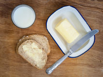 Bread and butter with milk Royalty Free Stock Photos