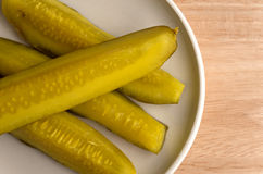 Bread and butter pickles on plate Stock Photography