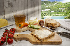 Bread and butter, Protein bread on window sill, Nature Stock Photography