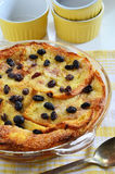 Bread and butter pudding with raisins Stock Photos