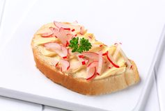 Bread with butter and radish Royalty Free Stock Photography