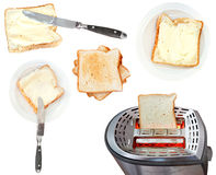 Bread and butter sandwiches and toaster isolated Royalty Free Stock Photography