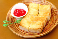 Bread, butter and strawberry jam Royalty Free Stock Photo