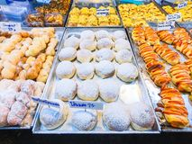 Bread and cake in bakery shop. Dessert stock photography