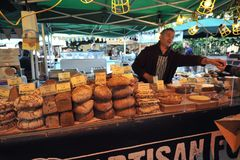 Bread and cakes in London east at Borough Market Royalty Free Stock Photo