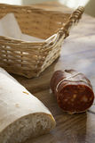 Bread and calabrese fiery  soppressata Stock Images