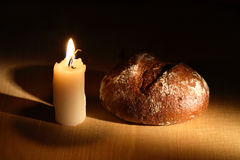 Bread And Candle Royalty Free Stock Images