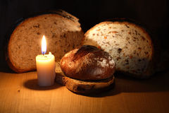 Bread And Candle Royalty Free Stock Image