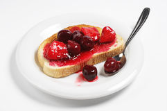 Bread with canned fruits Stock Photos