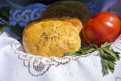 Bread with caraway and tomato. Royalty Free Stock Photo