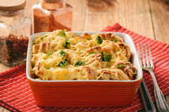 Bread casserole with chicken, spinach,eggs and cheese known as strata. Royalty Free Stock Photo