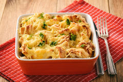 Bread casserole with chicken, spinach,eggs and cheese known as strata. Royalty Free Stock Image