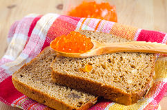 Bread and caviar Royalty Free Stock Images