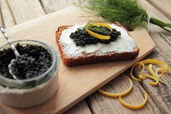 Bread with caviar Royalty Free Stock Images
