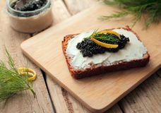 Bread with caviar Royalty Free Stock Image