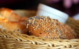 Bread. With cereal grains in a basket Royalty Free Stock Photo