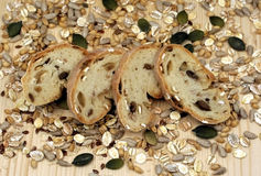 Bread, cereals and seeds Stock Images