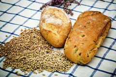 Bread and cereals on the table Stock Photos
