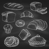 Bread chalk vector sketch icons on blackboard. Bread icons. Chalk sketch on blackboard or chalkboard. Vector wheat bread loaf brick or bagel, sliced rye bread vector illustration