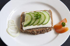 Bread with Chease and Cucumber Royalty Free Stock Photography