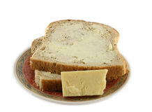 Bread and Cheese. Close up of a plate of bread and cheese Royalty Free Stock Photos
