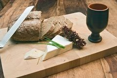 Bread and cheese stock images