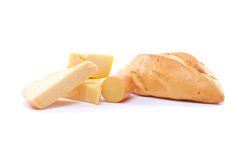 Bread and Cheese. Bread and some pieces of fresh cheese stock photography