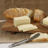 Bread and cheese. Sliced bread and cheese closeup royalty free stock image