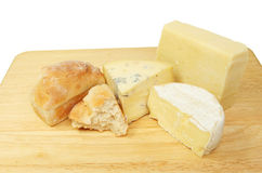 Bread and cheese on board Royalty Free Stock Photos