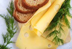 Bread and cheese - close up Stock Images