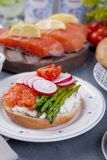 Bread with cheese, egg and asparagus, another bread with salmon and. asparagus. Different Healthy Eating. Delicious breakfast for. The family Stock Photography