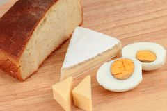 Bread, cheese and eggs Royalty Free Stock Images
