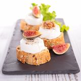 Bread with cheese and fig Stock Photo