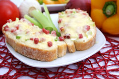Bread with cheese and ham. Some fresh bread with cheese and ham Stock Photo