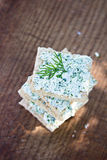 Bread with cheese. With herbs Stock Images