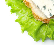 Bread and cheese on leaves of salad. Sandwich from bread and blue cheese on leaves of green salad Stock Photo