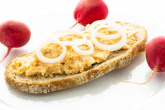 Bread with cheese obadzda with radishes Royalty Free Stock Images