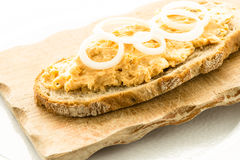 Bread with cheese obatzter and onions Royalty Free Stock Photo