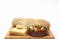 Bread, cheese and olives Royalty Free Stock Images
