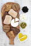 Bread Cheese and Olives Stock Photography