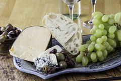 Bread and cheese platter Royalty Free Stock Photography