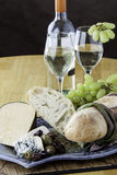 Bread and cheese platter Royalty Free Stock Photos