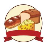 Bread and cheese. With ribbon in round icon vector illustration graphic design stock illustration