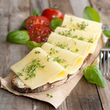 Bread with cheese. Rustic bread with cheese and herbs on wooden ground Stock Photos
