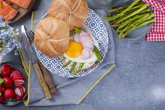 Bread with cheese, salmon and asparagus. Different Healthy Eating. Delicious breakfast for the family. Food in the Netherlands.  Stock Photos