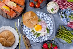 Bread with cheese, salmon and asparagus. Different Healthy Eating. Delicious breakfast for the family. View from above. Dutch. Dinner Royalty Free Stock Images