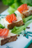 Bread with cheese and salted salmon Stock Image