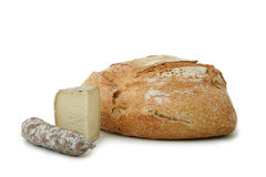 Bread, cheese and sausage Royalty Free Stock Images